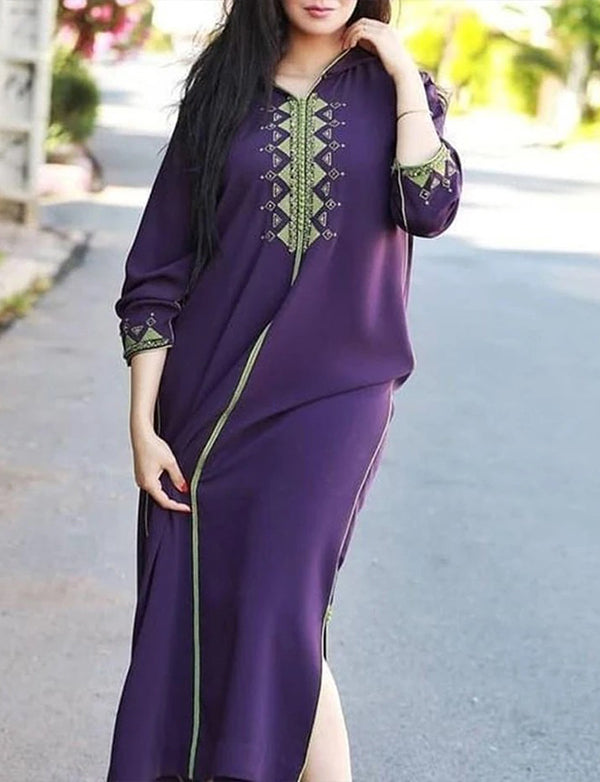 Sheath Long Sleeve Purple Dress Caftan for Women with Embroidered