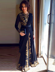 Dark Navy Moroccan Caftan Evening Dresses With Gold Appliques