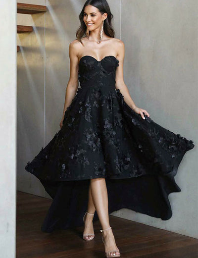 Chic A Line Sweetheart High Low Black Satin Prom Dress with Appliques