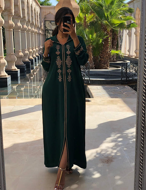 Dark Green Dubai Kaftans With Embroidery