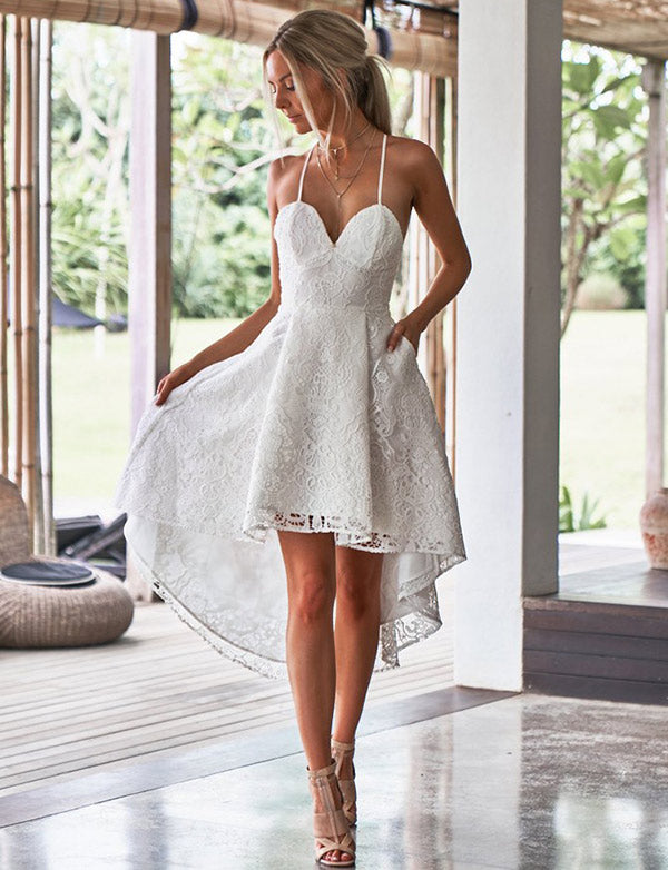 Elegant A Line Spaghetti Straps White Lace High Low Homecoming Dress