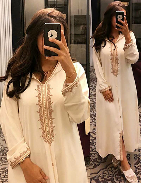 White Caftan with Beaded A-line Long Sleeve Ankle-Length Dress