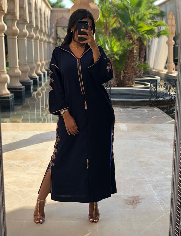 Dark Navy Casual Dubai Caftan with Embroidery