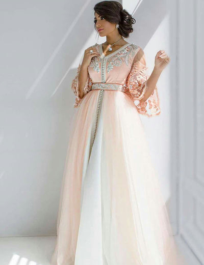 Pink Moroccan Caftan With Appliques and Beading