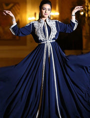 Navy Blue Moroccan Caftan With Appliques Lace