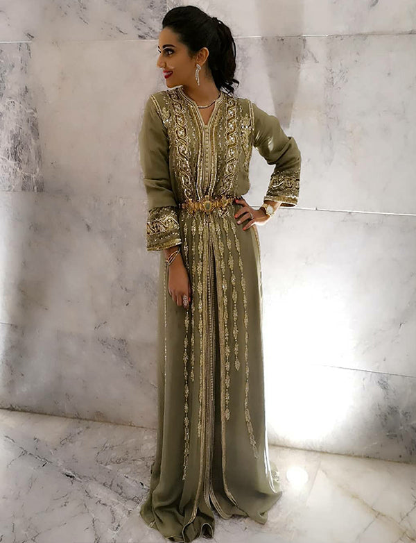 Elegant Moroccan Caftan with Beaded