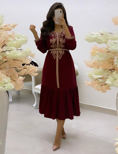 Embroidery Dubai Kaftans Red Dress