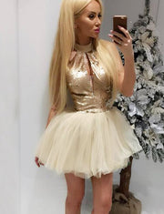 Stylish A Line High Neck Sleeveless Short Homecoming Cocktail Dress with Sequins