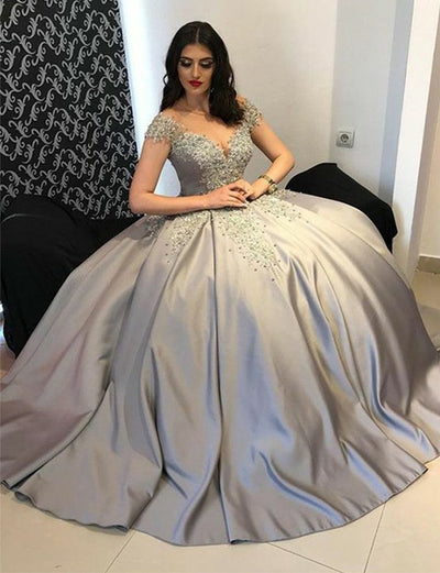 Ball Gown Formal Gowns Jewel Cap Sleeves Beading Grey Quinceanera Dresses