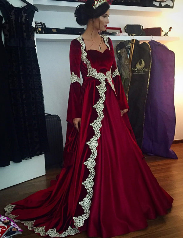 Long Red Dress Dubai Kaftans With Appliques