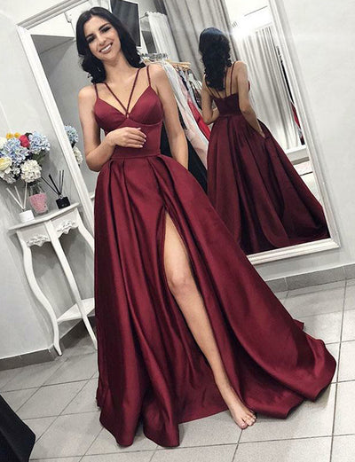 Burgundy Prom Dresses Long