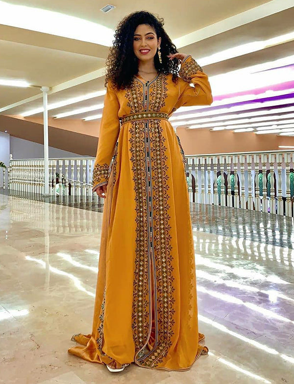 Yellow Moroccan Caftan Embroidered Evening Kaftan