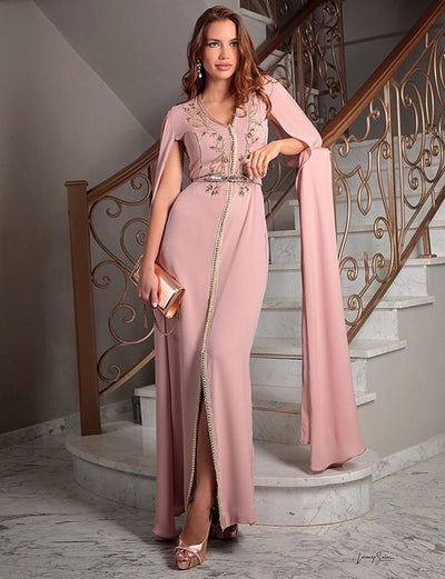 Pink Dress Dubai Kaftans With Embroidery
