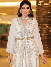 Champagne Beaded Morocan Kaftan Wedding Dress