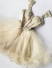 Stunning A Line Straps Champagne Short Homecoming Cocktail Dress with Beading