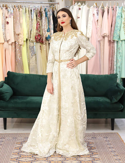 Free Shipping-Elegant White Wedding Kaftan Dresses