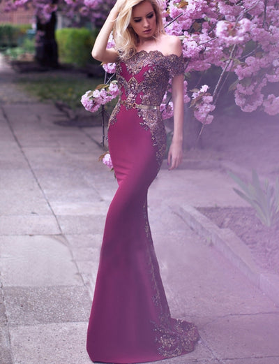 Sexy Mermaid Off the Shoulder Burgundy Satin Evening Dress with Beading