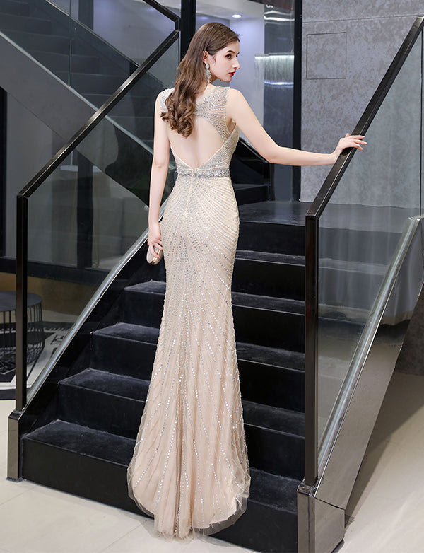 Luxurious Grey Mermaid Long Beading Prom Dresses Open Back Evening Dress 2020
