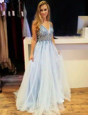 V Neck Blue Long Prom Dresses Beading Backless Formal Evening Dresses