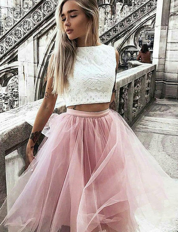 Two Piece A Line Jewel Sleeveless Pink Short Homecoming Dress with Lace