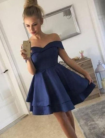 Stunning A Line Off the Shoulder Navy Blue Short Homecoming Dress