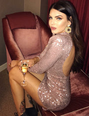 Fashion Sheath High Neck Long Sleeves Rose Gold Sequined Short Cocktail Dress