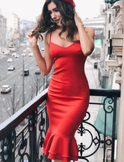 Sexy Sheath Spaghetti Straps Red Satin Short Cocktail Homecoming Dress with Ruffles