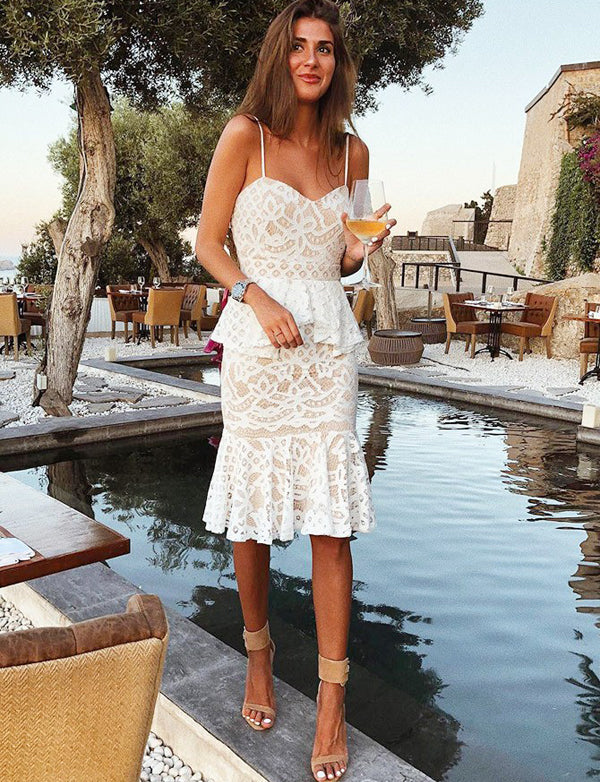 Bodycon Spaghetti Straps White Lace Short Cocktail Party Dress