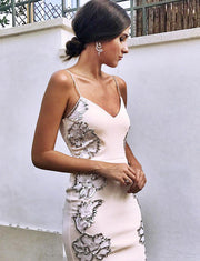 Charming Sheath Spaghetti Straps Pearl Pink Cocktail Party Dress with Appliques