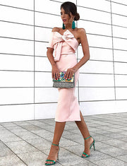 Stylish Sheath One Shoulder Pink Satin Mid Calf Cocktail Dress with Bowknot