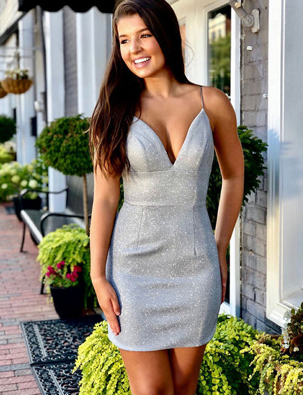 Sexy Sheath Spaghetti Straps Silver Short Homecoming Cocktail Party Dress