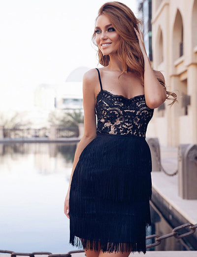 Sexy Sheath Spaghetti Straps Black Lace Cocktail Dress with Tassel