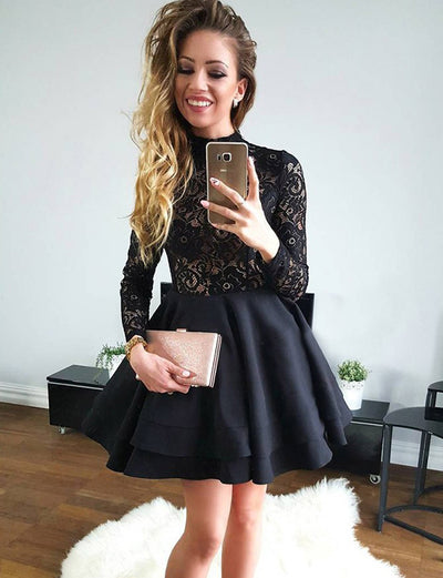 Stylish A Line High Neck Long Sleeves Black Satin Short Cocktail Homecoming Dress with Lace