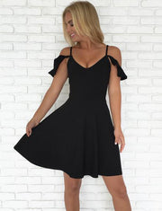 Fashion A Line Spaghetti Straps Black Short Cocktail Homecoming Dress