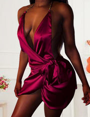 Sexy Charming Halter Backless Mini Silk Cocktail Dress