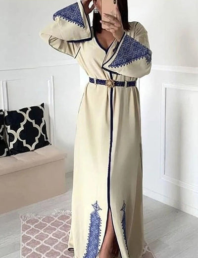 White Long Sleeve V-Neck Moroccan Caftans Dress Party Dress with Embroidery