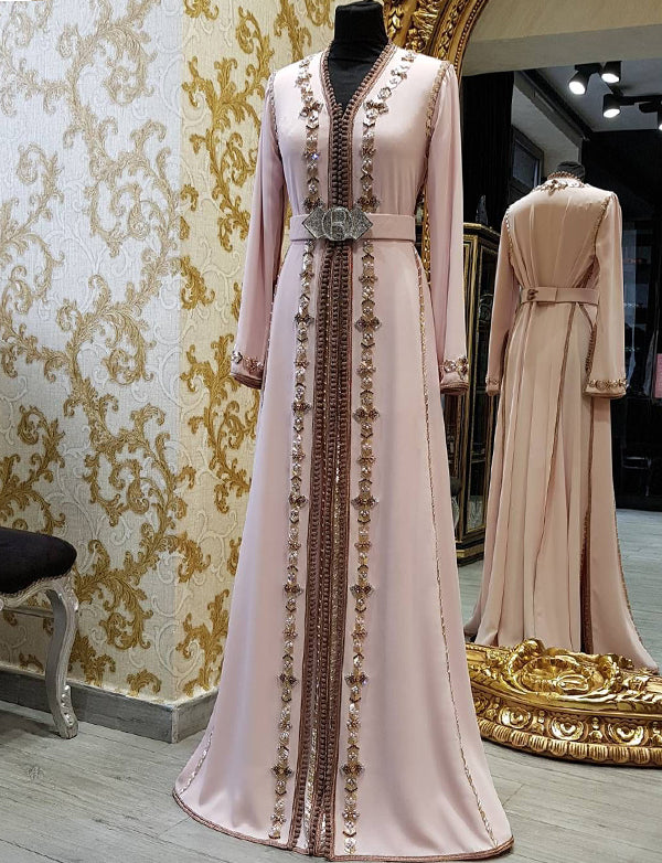 Beaded Pink Moroccan Caftans with Belt