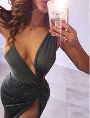 Sexy High Split Party Dresses Spaghetti Straps Green Long Prom Dresses