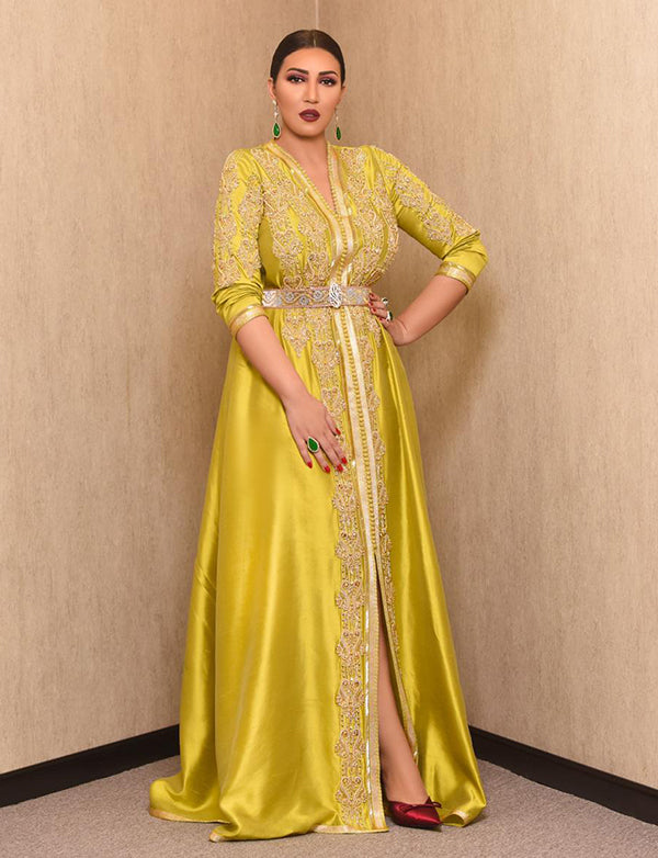 Yellow Moroccan Kaftan Evening Dresses