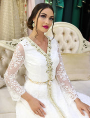 White Wedding Kaftan with Lace Beading