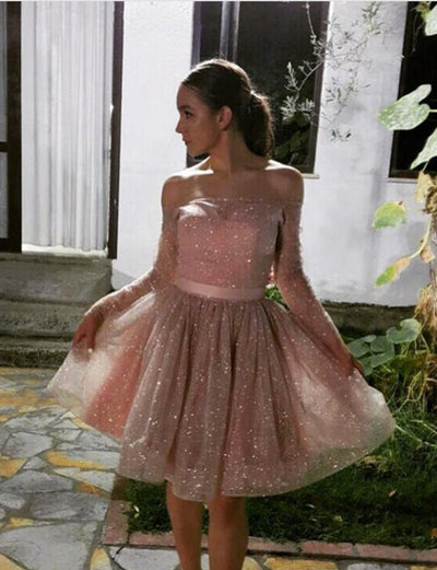Unique A Line Off The Shoulder Long Sleeves Short Homecoming Cocktail Dress