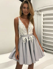 Fashion A Line V Neck Sleeveless Grey Short Homecoming Dress With Appliques