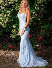 Blue Prom Dresses Appliques Long Mermaid Formal Gowns
