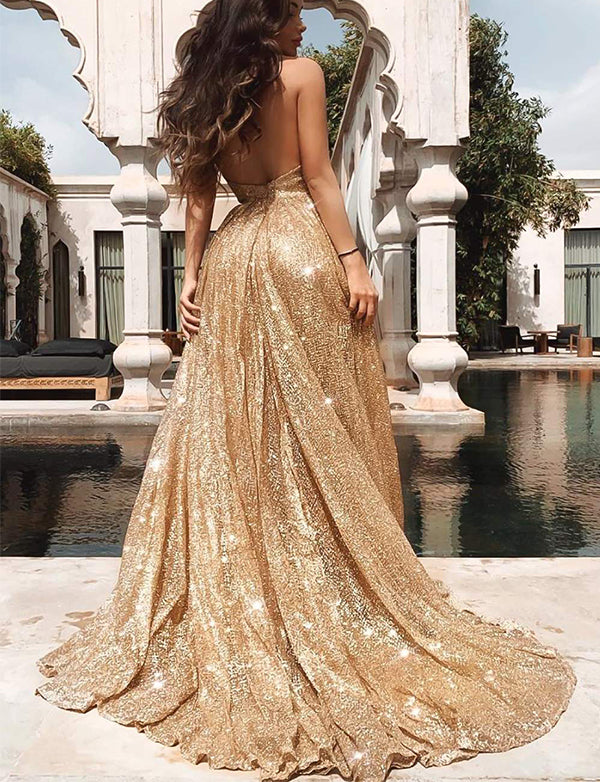 Sparkly Halter Long Prom Dresses Champagne Formal Evening Dresses