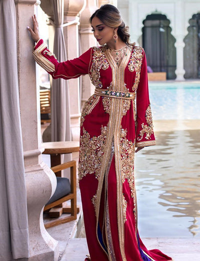 Red Moroccan Caftan Dress