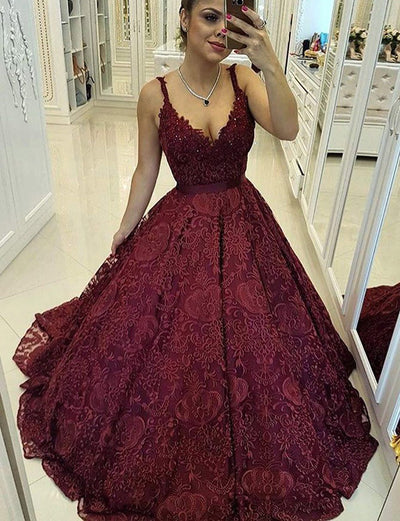 Ball Gown Scoop Sleeveless Burgundy Lace Quinceanera Dress
