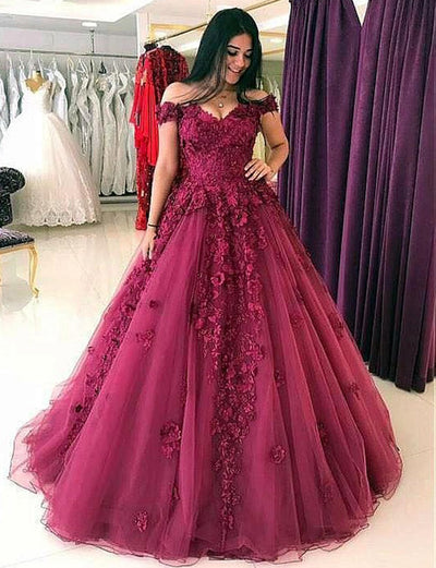 Elegant Ball Gown Off the Shoulder Burgundy Tulle Quinceanera Dress with Appliques