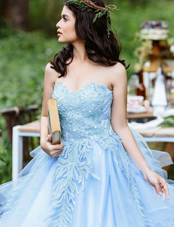 Gorgeous Ball Gown Sweetheart Blue Quinceanera Dress with Appliques