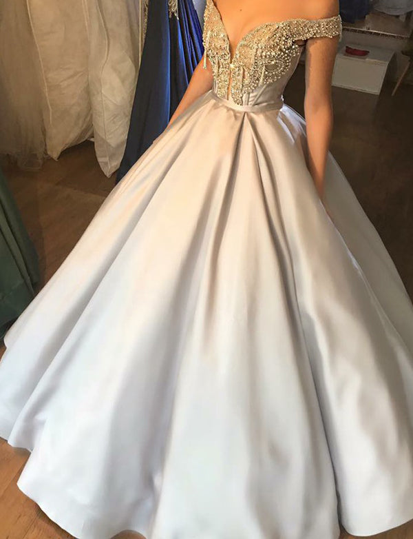 Stunning Ball Gown Off the Shoulder Silver Quinceanera Dress with Beading