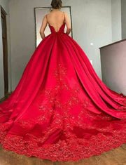 Fashion Ball Gown Spaghetti Straps Red Quinceanera Dress with Appliques